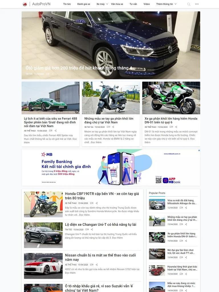 Template blogspot review thông tin ô tô, xe máy đẹp chuẩn seo