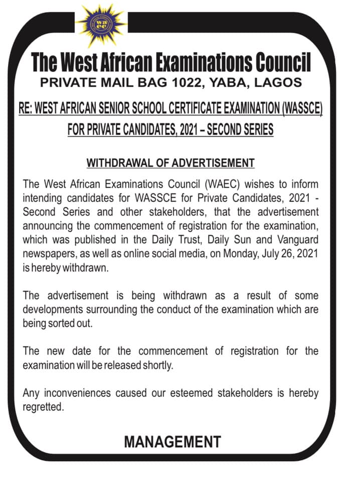 WAEC GCE 2021 Registration Form | August/September [2nd Series]