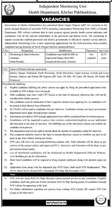 Jobs in Health Department KPK Oct 2019