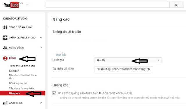 Cài đặt kiếm tiền trên youtube