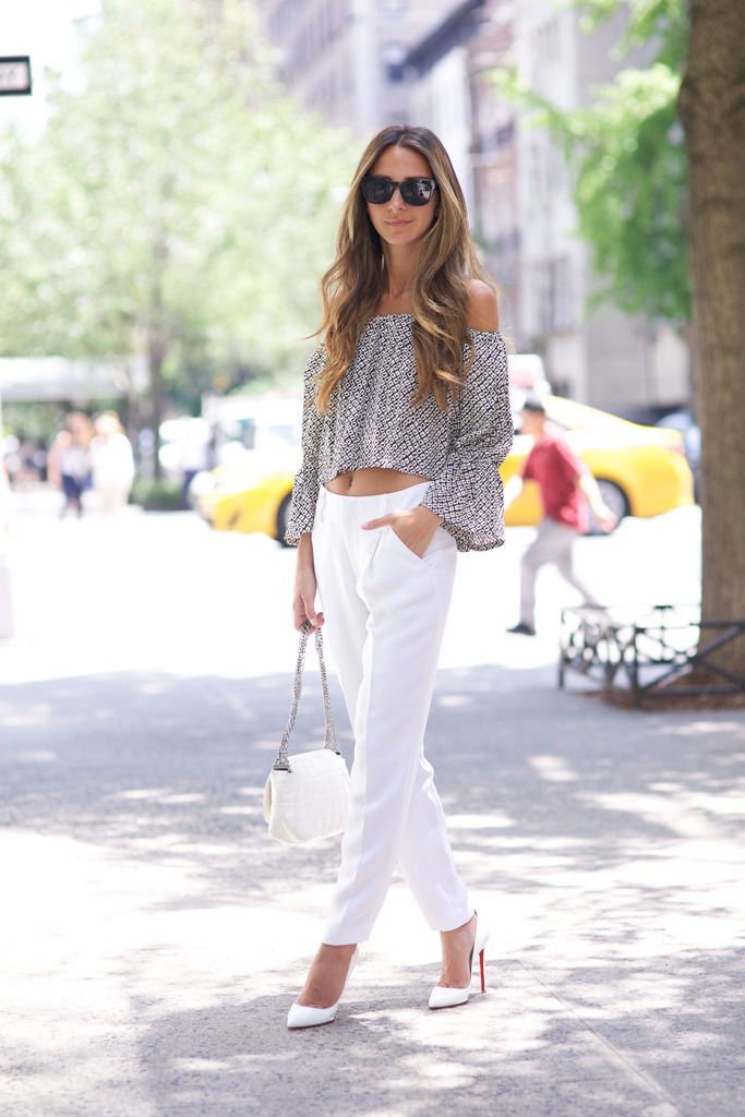 Arielle Something Navy - Off Shoulder Shirt / Louboutin White Pumps