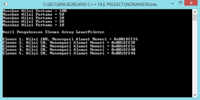 Gambar Output Program Array dari Pointer dengan Borland C++