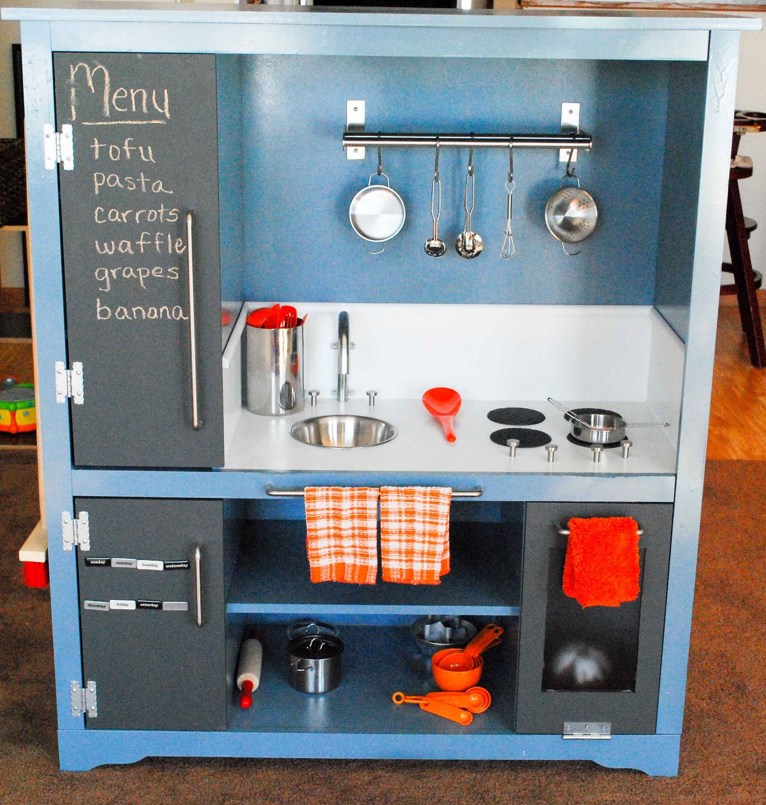 Child S Kitchen Made From Entertainment Center