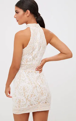 White High Neck lace crochet bodycon prom dress back side