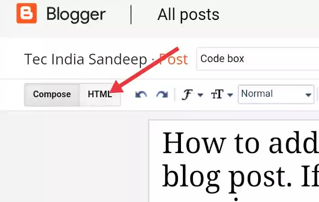 How To Add Code Box in Blogger Post