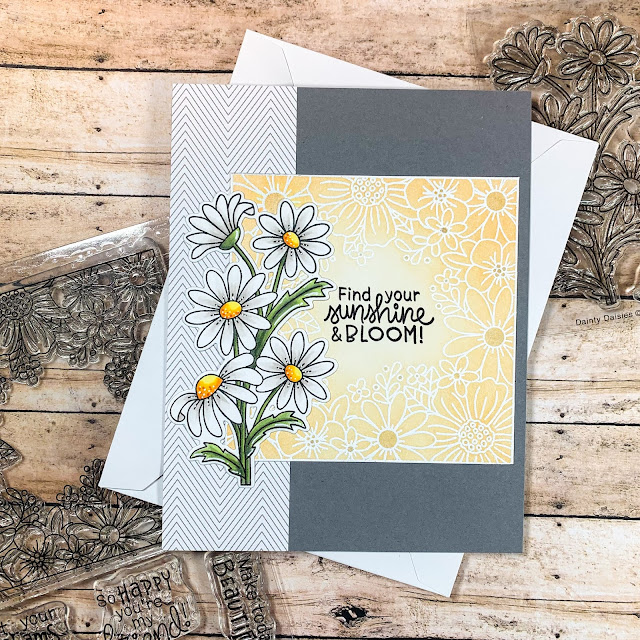 Daisy Card by February Guest Designer Caitlin Anthony | Dainty Daises and Floral Fringe Stamp Sets by Newton's Nook Designs #newtonsnook #handmade