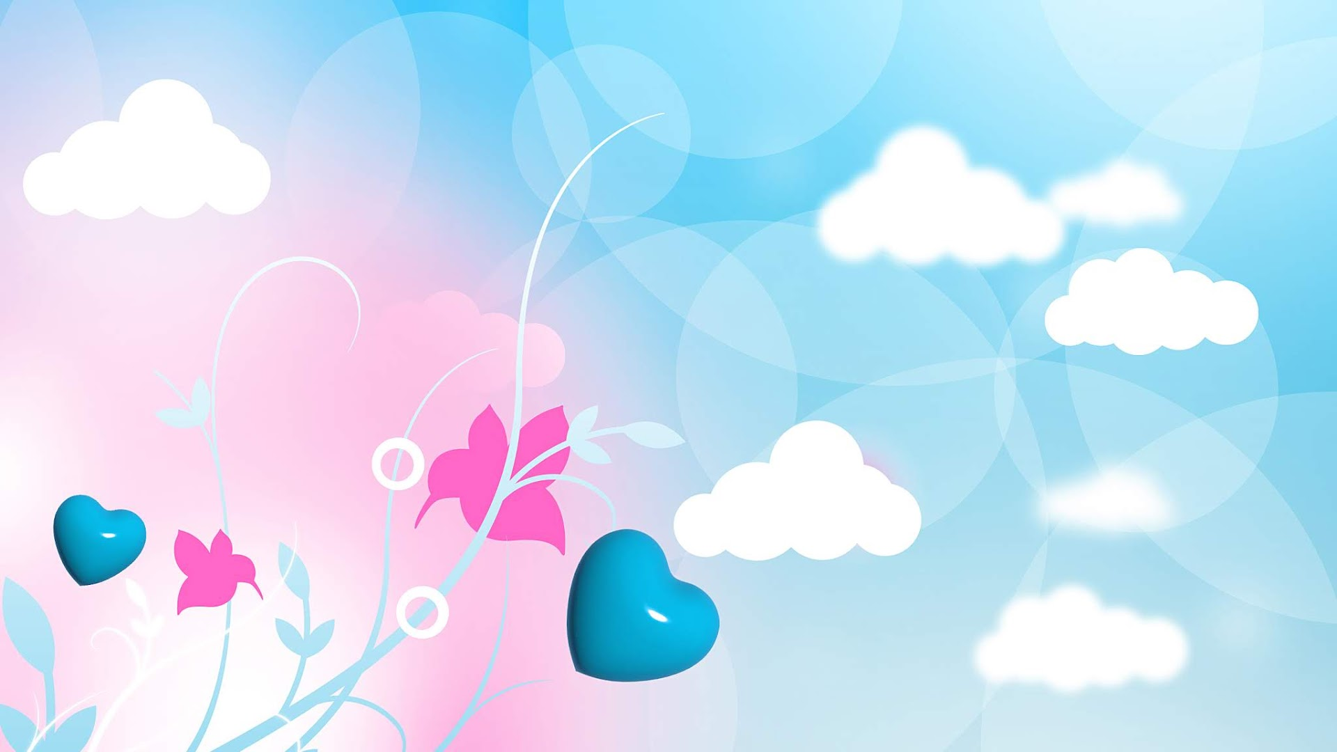 Light Pink Background with dove and birds and few hearts in corner