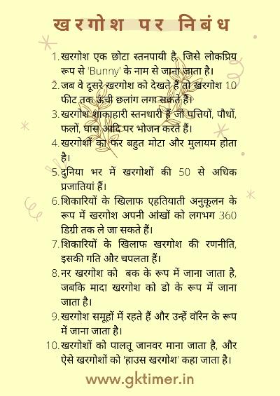 खरगोश के बारे में 10 पंक्तियाँ | Rabbit in Hindi : 10 Lines on Rabbit in Hindi | Essay on Rabbit in Hindi