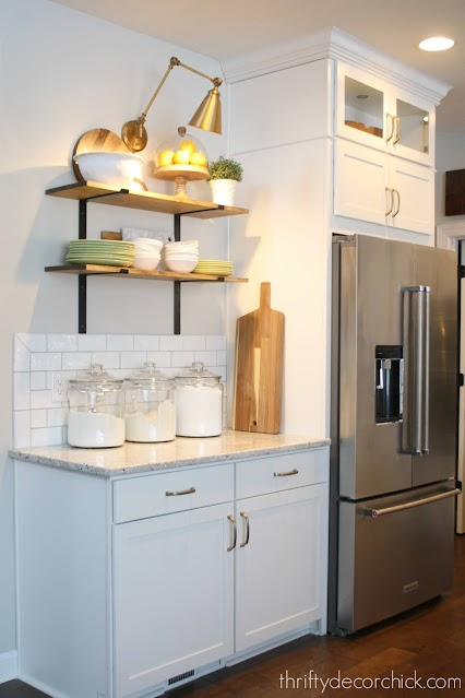Shelves with black brackets kitchen