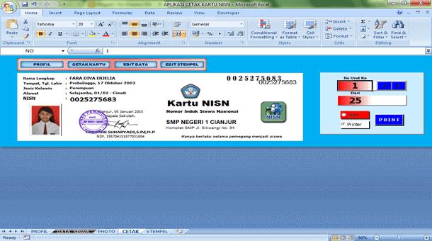 Aplikasi Cetak Kartu NISN untuk SMP Format Microsoft Excel
