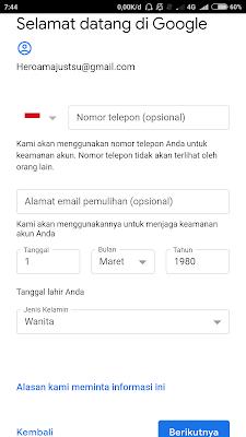 pilih jenis kelamin email