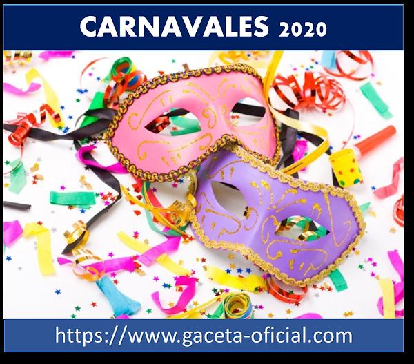 Gaceta Oficial Carnavales 2020