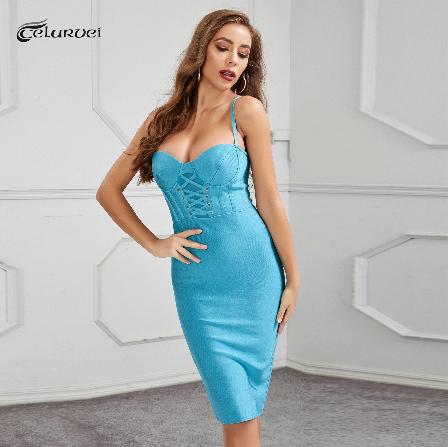 High Quality Blue Club Party Elegant Dress