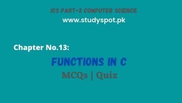 functions in c mcqs quiz, ics part 2 online quiz