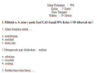 Soal-UAS-UKK-IPA-kelas-1-SD-Semester-1