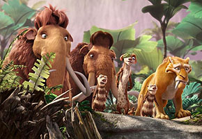 Manny, Ellie, Sid, Diego and the Possum brothers walk through the forest in Ice Age: Dawn of the Dinosaurs 2009 animatefilmreviews.filminspector.com