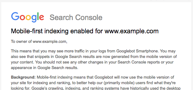 Mobile-first indexing enabled notification in Google Search Console.