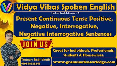 Present Continuous Tense Positive, Negative