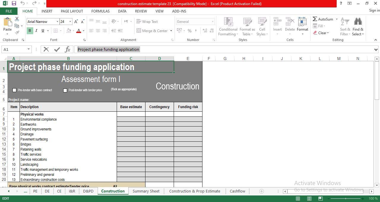Free Construction Cost Estimate Template
