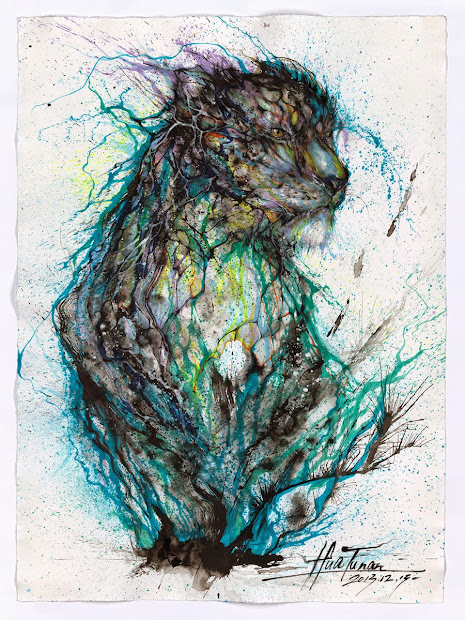 Blue Splatter Painting Arts Animals