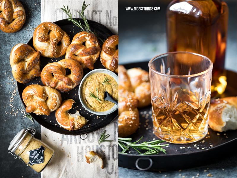 Whiskey-Honig-Senf mit selbstgemachten Laugenbrezeln