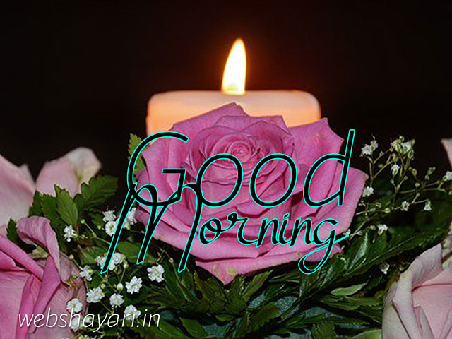 good morning image with flower and candle light