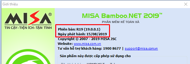 Cập nhật Misbamboo.net 2019 phiên bản R19.0.0.1 15/8/2019