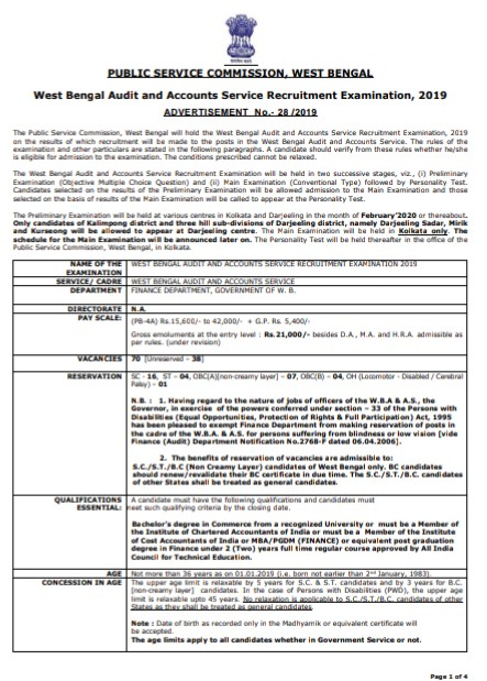WBPSC Job - Audit And Accounts