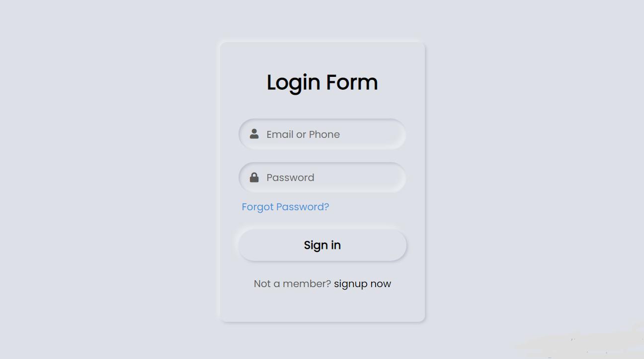 Create Neumorphism Login Form UI Design Using HTML and CSS