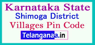 Shimoga District Pin Codes in Karnataka State