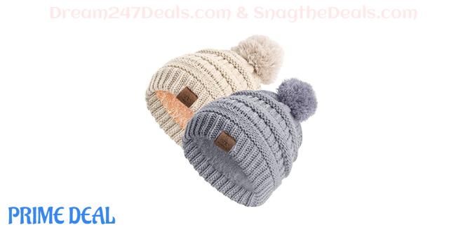 50% off Anazalea Fleece Lined Baby Beanie Hat, Infant Toddler Kids Winter Warm Knit Cap for Boys Girls (Beige&Grey)