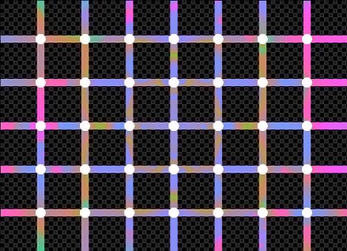 Renkli dikey ve yatay çizgilerin kesişim noktalarındaki beyaz noktalar bakılmadığında siyah renkli oluyor