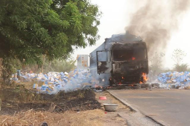 Incendie d'un camion à Gamé