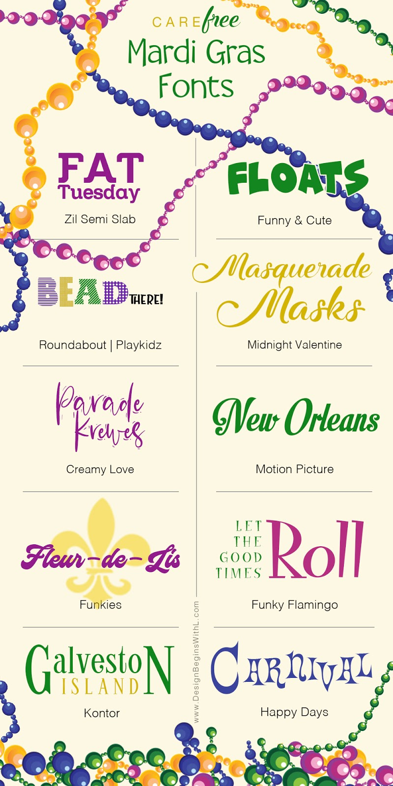 CareFREE Mardi Gras Fonts