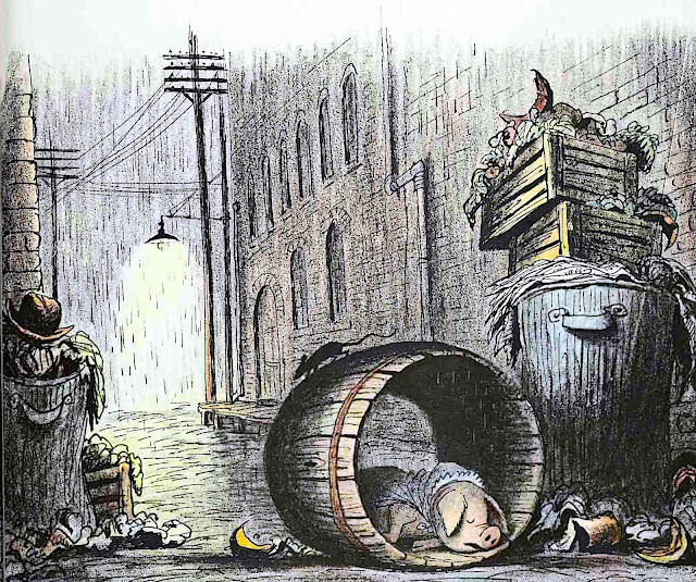 a Bill Peet children's book illustration of a sleeping pig in a rainy back alley at night