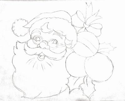 risco para pintar papai noel de oculos com bolas natalinas, folhas e laço