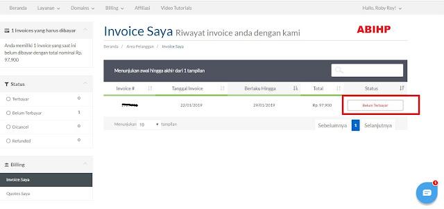 Untuk melihat status invoice pembelian domain di exabytes lihat halaman ini.