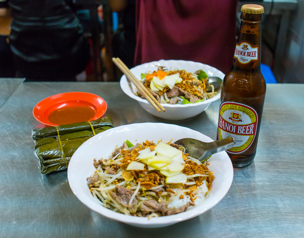 awesome bun bo nam bo and gio street food in hanoi