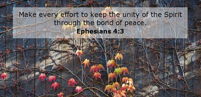 Make every effort to keep the unity of the Spirit through the bond of peace.