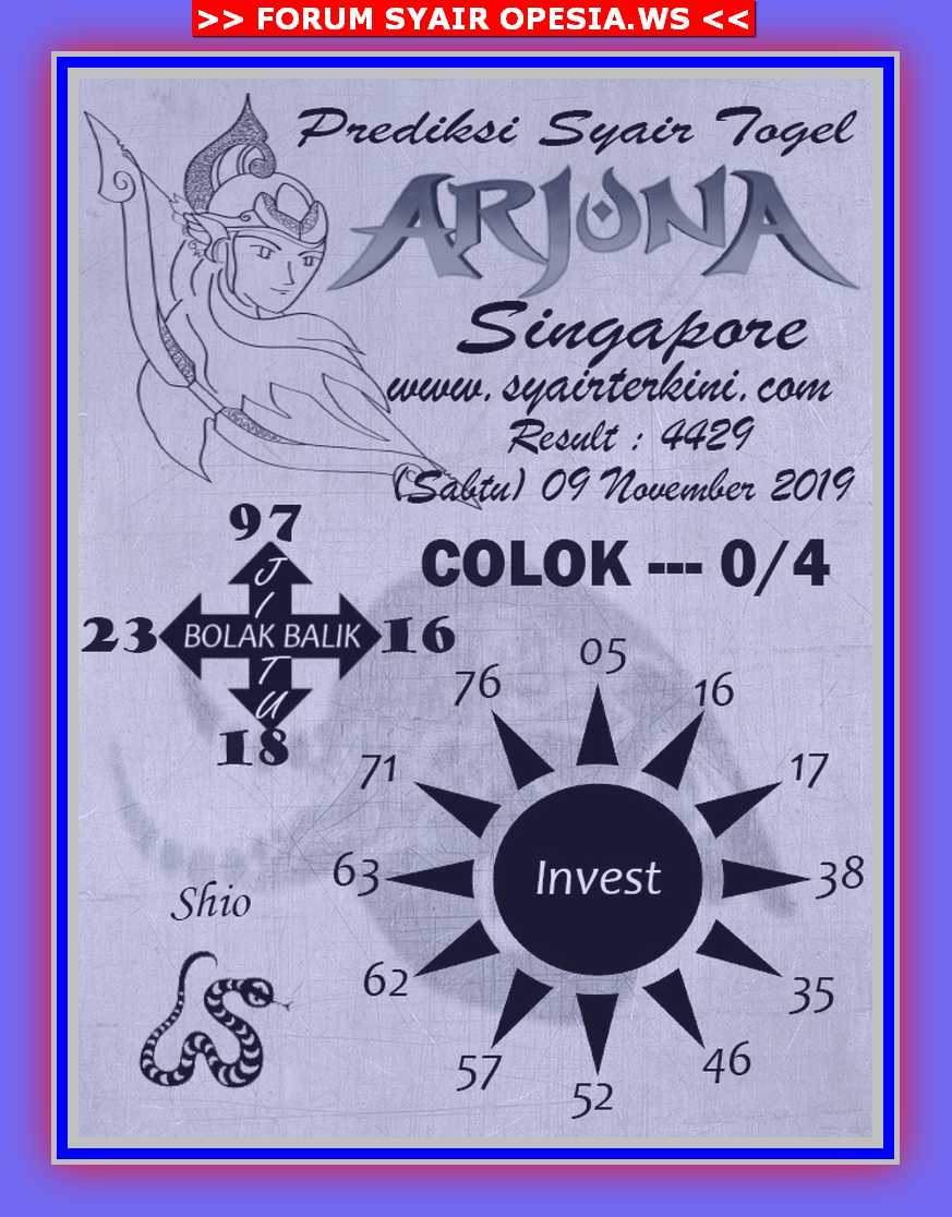 Kode syair Singapore Sabtu 9 November 2019 36