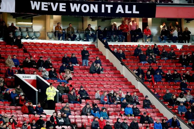 Man Utd fans leave Old Trafford at half time after derby humiliation by Man City