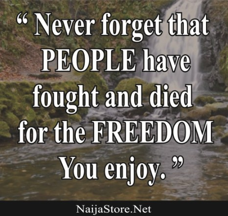 Freedom Quote: Never forget that PEOPLE have fought and died for the FREEDOM You enjoy