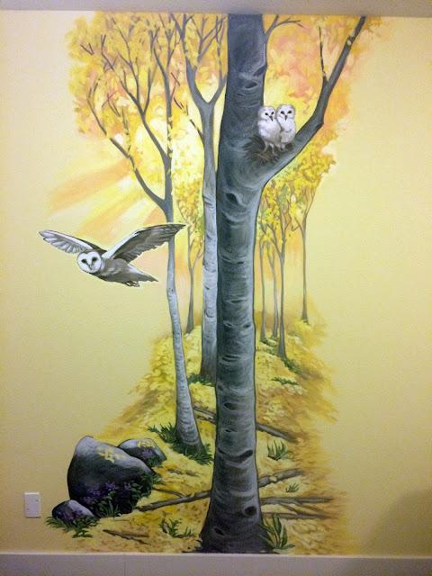 owl mural, barn owl painting, aspen mural, oregon mural, oregon muralist, owl flying mural