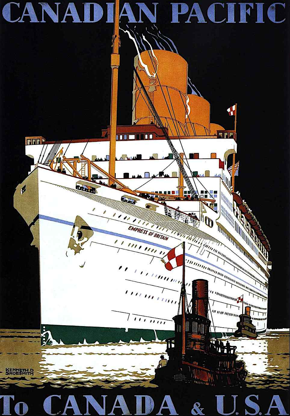 a Kenneth Shoesmith 1933 travel poster illustration for Canadian the Pacifics line, a giant ship with tugboat