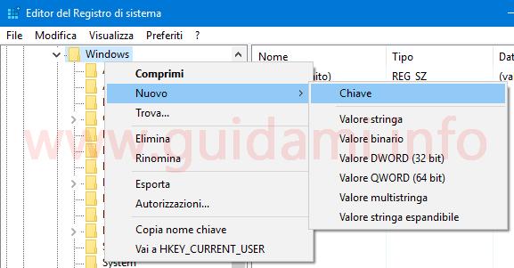 Creare nuova chiave Editor registro di sistema