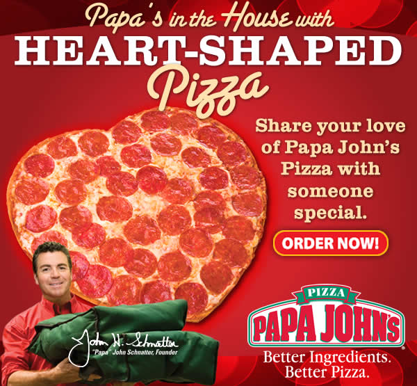 Papa John's is currently taking orders for you romantics out there. The heart-shaped pizza is back I got it a couple years ago. You get a one-topping, thin crust heart-shaped pizza and a family size Double Chocolate Chip Brownie for $