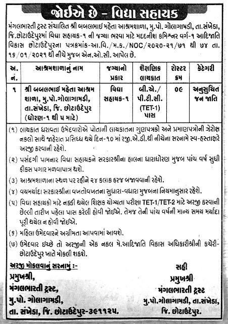Ashramshala Recruitment 2021 Apply for Vidyasahayak
