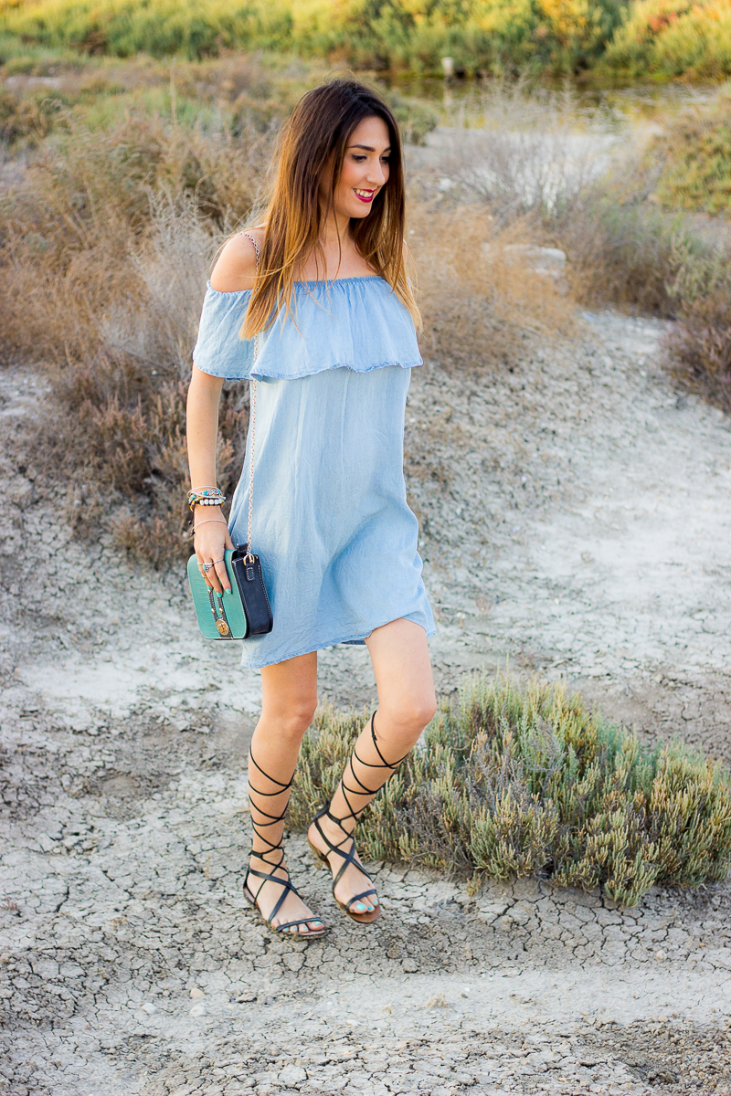shoulder off denim dress