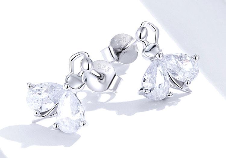 優雅女伶 925純銀鋯石耳環