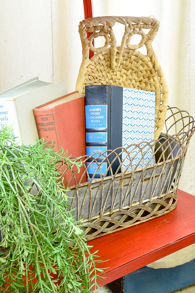 vintage books and planter